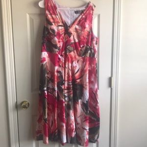 Lane Bryant Pink and green floral fit/flare dress